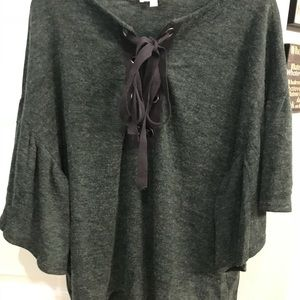 Charcoal top with front tie detail